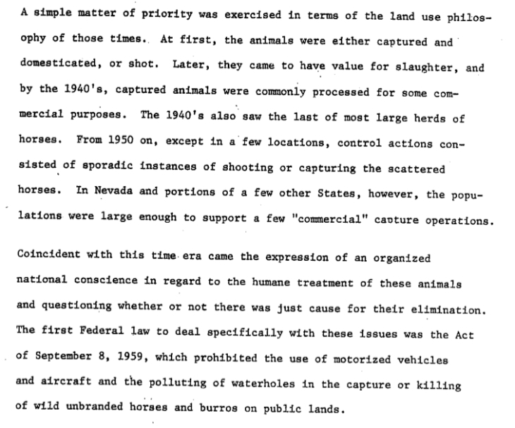 "Excerpt of section ""Brief history..."" in the first report to Congress of 1974."
