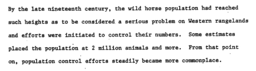"in the late nineteenth century more than two million wild horses were considered a ""serious problem."""